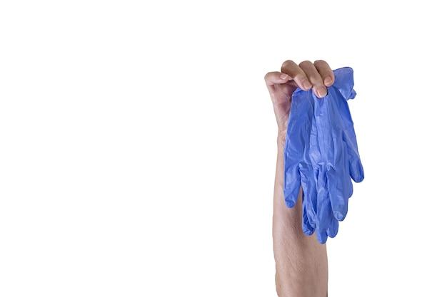 Anonieme senior persoon demonstreert latexhandschoenen