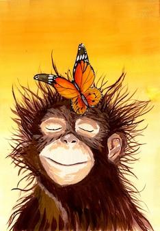 Ansichtkaart schattige aap met een vlinder op zijn hoofd koesteren in de zon kinderen illustratie geïsoleerd