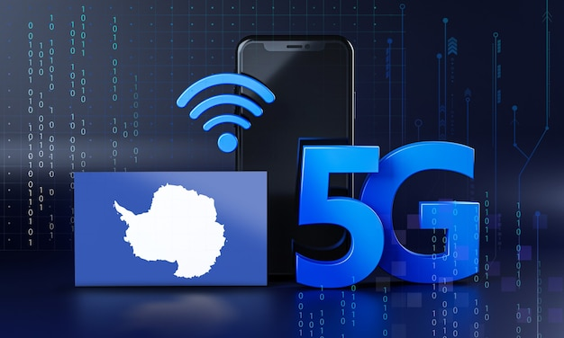 Antarctica klaar voor 5g-verbindingsconcept. 3d-rendering smartphone technische achtergrond