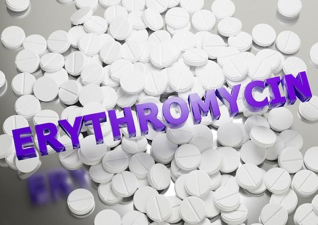 Antibioticum erytromycine-pil dat wordt gebruikt voor de behandeling van bacteriële infecties, zoals chlamydia en syfilis. belettering