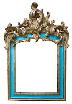 Antiek gouden turkoois frame met lege die ruimte op witte achtergrond wordt geïsoleerd