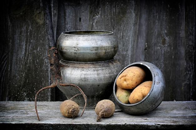 Antieke potten voor het koken van vork retro vintage rustieke stijl