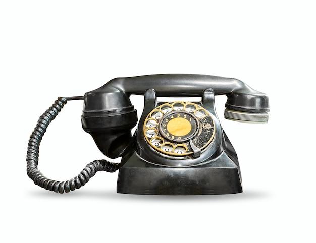 Antieke telefoon die op een wit wordt geïsoleerd