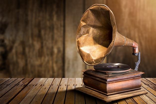 Antieke vinyl platenspeler