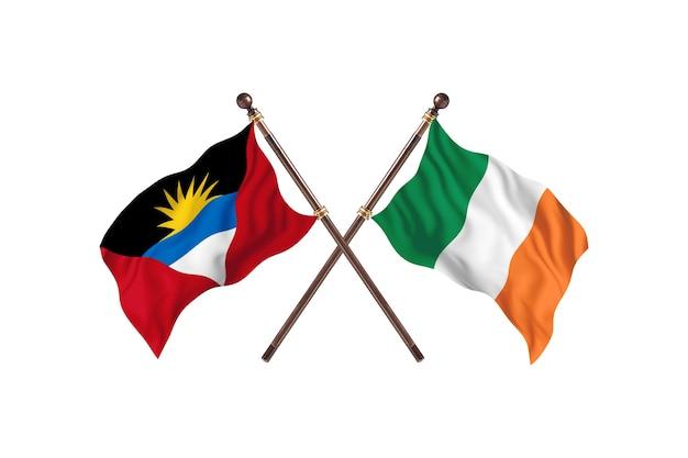 Antigua en barbuda versus ierland twee landen vlaggen achtergrond