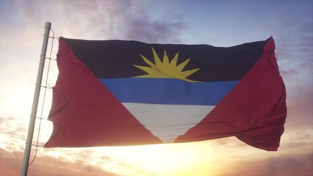 Antigua en barbuda vlag zwaaien in de wind, lucht en zon achtergrond. 3d-rendering.