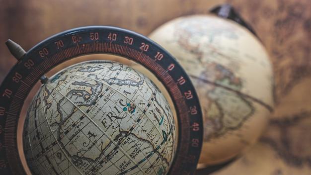 Antique world globe model