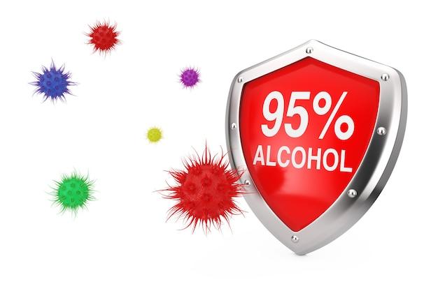 Antiviraal desinfectieconcept. 95% alcoholdesinfector shield beschermd tegen virussen of bacteriën op een witte achtergrond. 3d-rendering