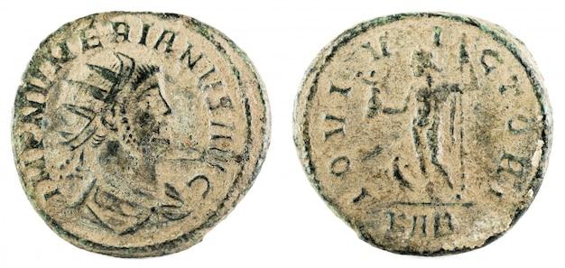 Antoninianus. oude romeinse koperen munt van numerian keizer.