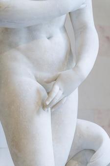 Aphrodite is de oude godin van liefde en schoonheid marmeren sculptuur van aphrodite in het museum van een...