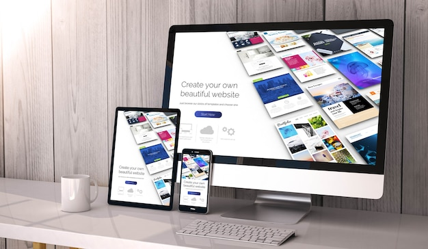 Apparaten op desktop, websitebouwer op scherm. 3d-weergave.
