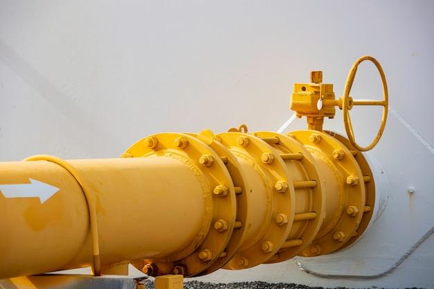 Apparatuur voor pijpleiding gele olie- en gaskleppen bij de drukveiligheid van de gasfabriek.