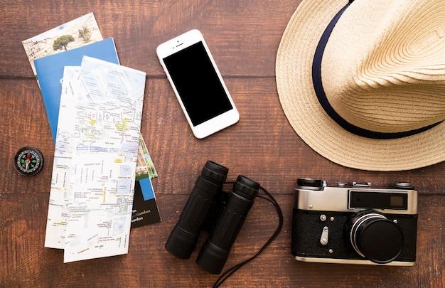 Apparatuur voor reizigers van bovenaanzicht