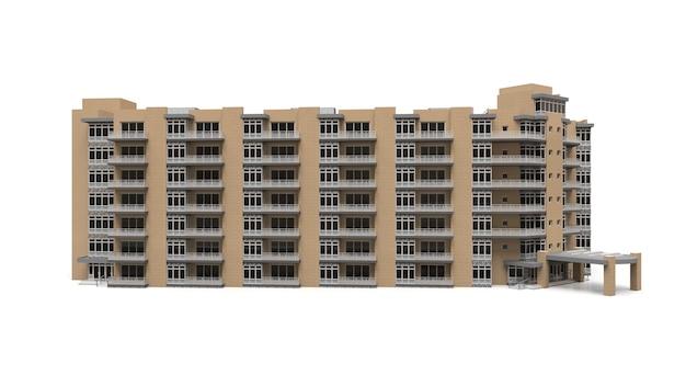 Appartement 3d-model. appartementenhuis met een binnenplaats. 3d-rendering.