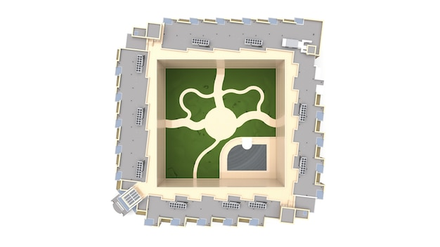 Appartement 3d-model. appartementenhuis met een binnenplaats. 3d-weergave.