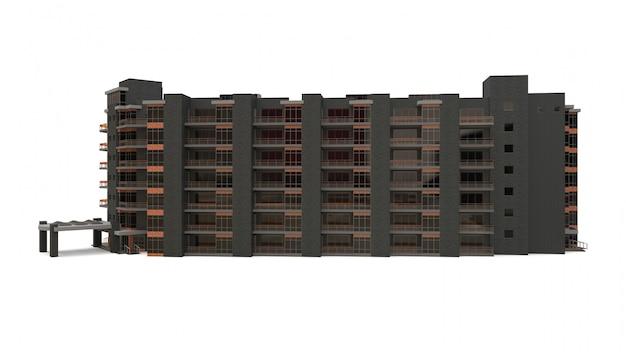 Appartement 3d-model. appartementenhuis met een binnenplaats. 3d-weergave