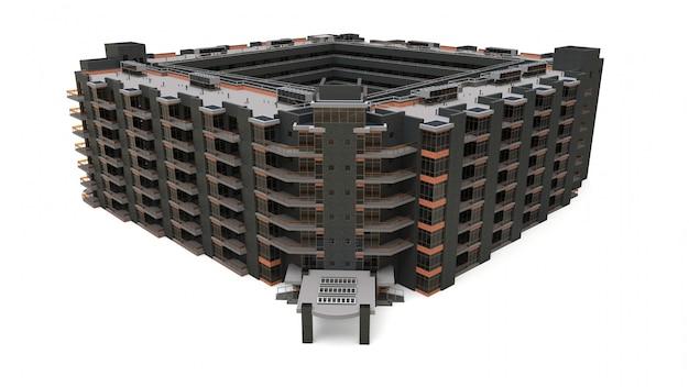 Appartement 3d-model. appartementenhuis met een binnenplaats