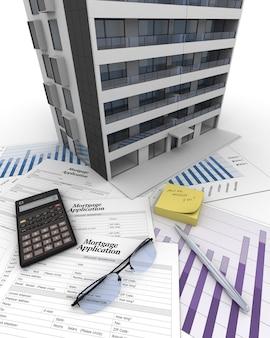 Appartementsgebouw bovenop een tafel met hypotheekaanvraagformulier, rekenmachine, blauwdrukken, etc ..