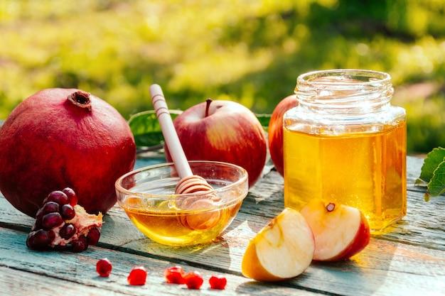 Appel en honing en granaatappel, traditioneel voedsel van joods nieuwjaar - rosh hashana. ruimte voor tekst