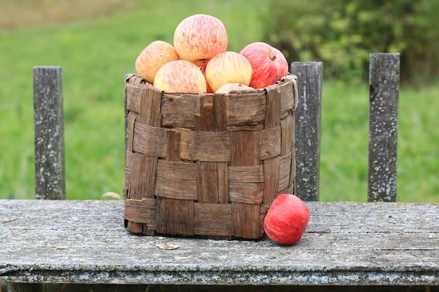 Appels in een rieten mand oude retro vintage rustieke stijl zomer herfst