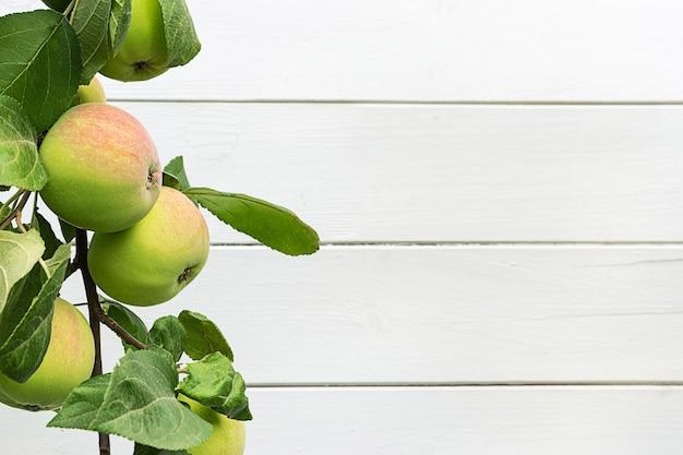 Appels op een brunch tegen witte houten achtergrond