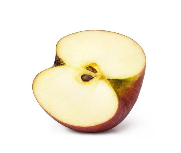 Apple gesneden helft geïsoleerd op witte ruimte Premium Foto