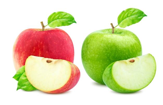 Apple-inzameling, groene en enige rode appelen en kwartstuk dat op wit wordt geïsoleerd