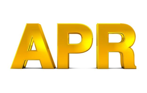 Apr gold 3d-tekst - april-maandafkorting geïsoleerd op een witte achtergrond. 3d render.