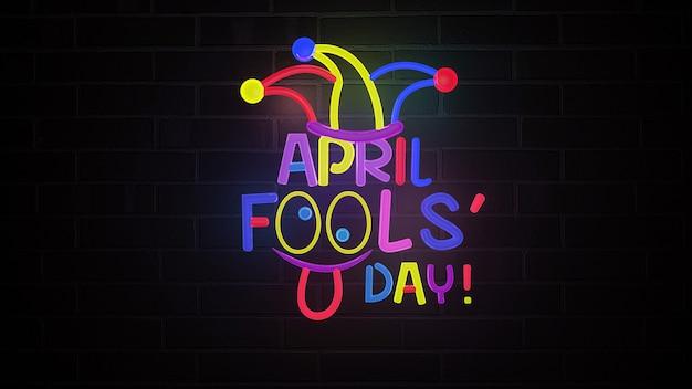 April dwazen dag met neon illustratie. 3d-weergave