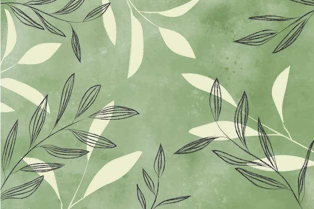 Aquarel achtergrond met bladeren
