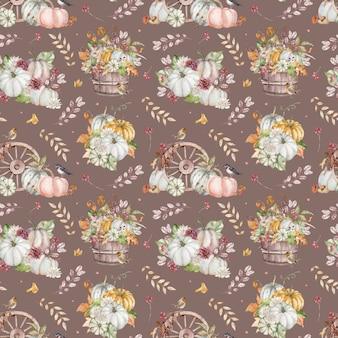 Aquarel achtergrond met herfst bloemen, bladeren, vogels, paddenstoelen, bessen en pompoenen. thanksgiving dag patroon.