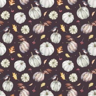 Aquarel achtergrond met herfstbladeren, vogels en pompoenen. thanksgiving dag patroon.
