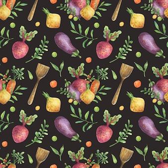 Aquarel achtergrond met illustratie van groenten (bieten, wortelen, aubergine, uien) en houten keukengerei.