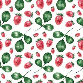 Aquarel achtergrond met rijpe aardbeien