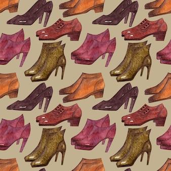 Aquarel achtergrond met verschillende soorten seizoensgebonden schoenen