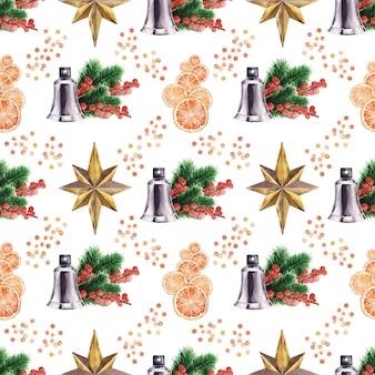 Aquarel achtergrond tekenen met verschillende feestelijke attributen van nieuwjaarsvakantie