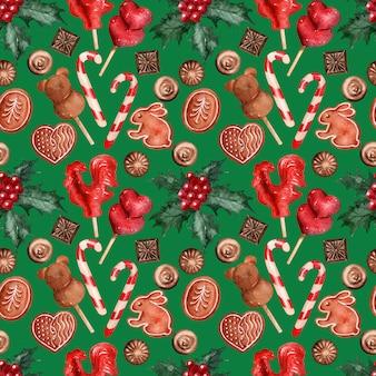 Aquarel achtergrondafbeelding kerst vakantie snoep