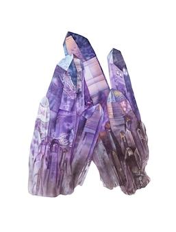 Aquarel amethist kristallen op witte achtergrond.
