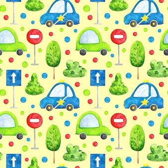 Aquarel auto's op ivoor achtergrond naadloze patroon cartoon vervoer herhaal print