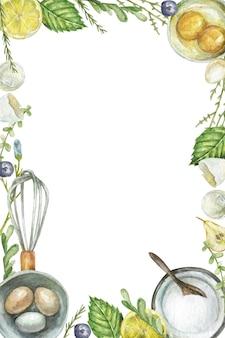 Aquarel bakken tools frame op witte achtergrond met kopie ruimte
