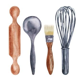 Aquarel bakken tools op een witte achtergrond