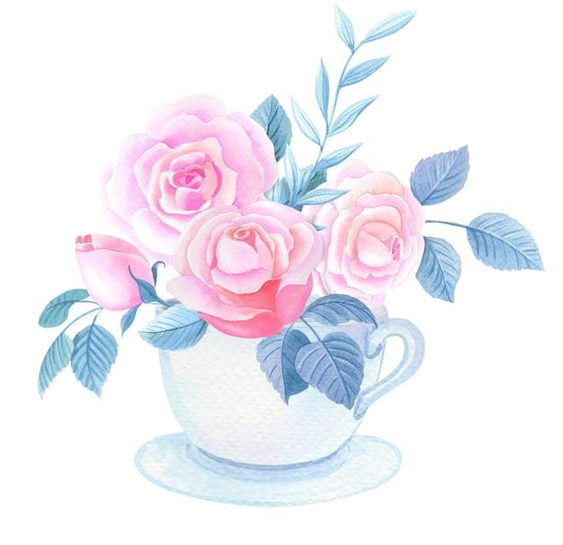 Aquarel beker met roze rozen en bladeren op een witte achtergrond.