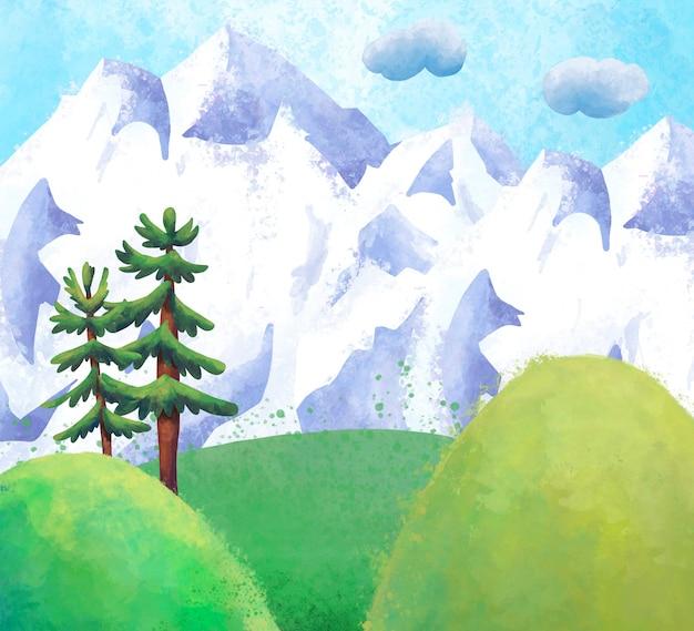Aquarel berglandschap met bomen en besneeuwde bergen hoek,