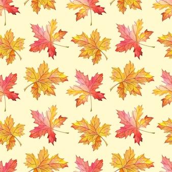 Aquarel bladeren op een gele achtergrond herfst naadloos patroon aquarel ontwerp om af te drukken