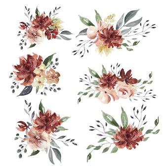Aquarel bloemen bordeauxarrangementen