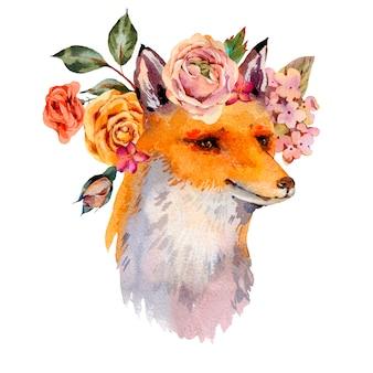 Aquarel bloemen bos vos wenskaart, rozen, hortensia, wilde bloemen.
