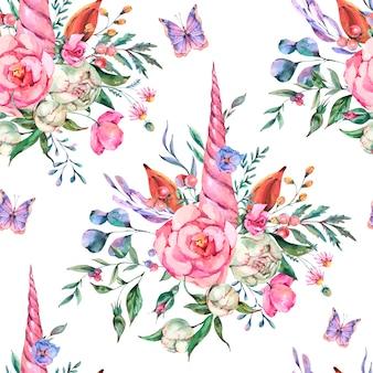 Aquarel bloemen eenhoorn naadloze patroon