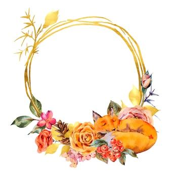 Aquarel bloemen gouden frame met slapende vos, roos, bessen, dennenappel en wilde bloemen.