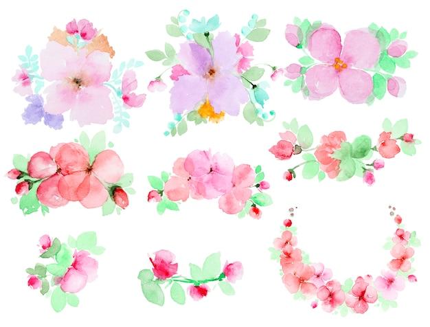 Aquarel bloemen instellen