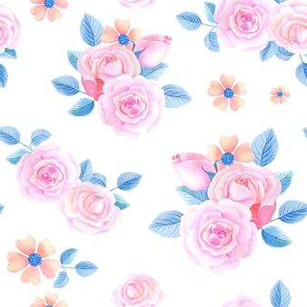 Aquarel bloemen op een witte achtergrond. naadloos patroon met roze rozen.